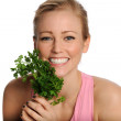 Happy Young Woman with Lettuce — Stock Photo