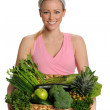 Healthy Young Woman with Green Fruits and Vegetables — Stock Photo