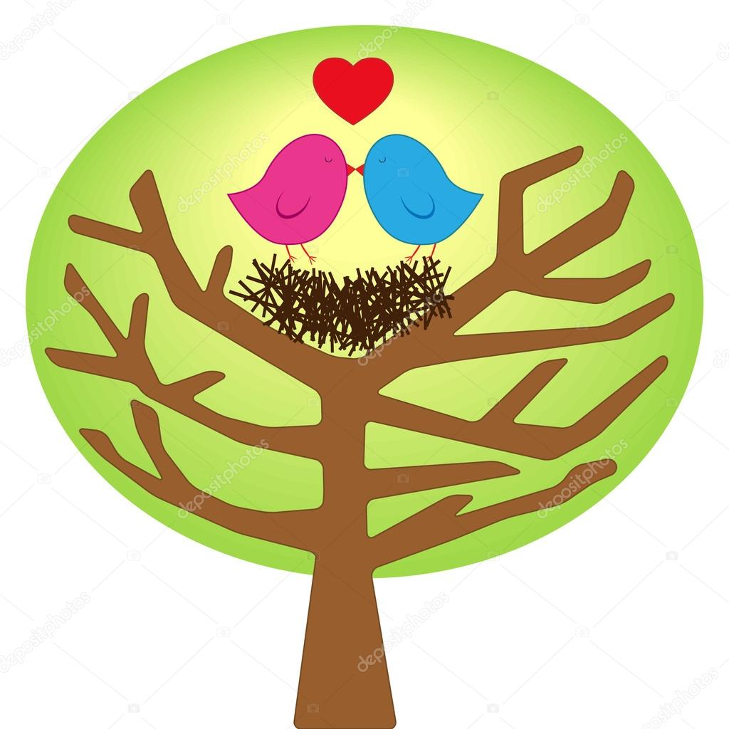 Abstract concept of love as two loving birds sitting on the tree in their nest, valentine greeting card  Stock Vector #19730415