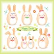 Stock Vector: Easter bunny family in form of egg