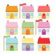 Royalty-Free Stock ベクターイメージ: Set of cute cartoon houses for sale and rent