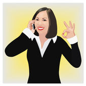 Success smiling business woman shows ok sign — Stock Vector