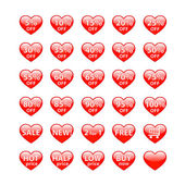 Sale buttons heart shaped — Stock Vector