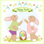 Easter bunny familie grußkarte — Stockvektor