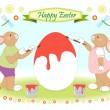 Easter bunny family painting big egg — Stock Vector