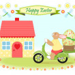 Stock Vector: Easter bunny delivers big easter egg