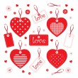 Set of hearts and handmade elements — Stock Vector