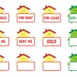 Set of houses with banner as stickers - Stock Vector