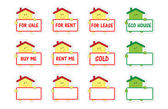 Set of houses with banner as stickers — Stock Vector