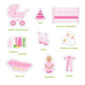 Newborn girl stickers — Stock Vector
