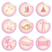 Newborn girl stickers 2 — Stock Vector
