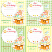 First birthday invitation card 2 — Stock Vector