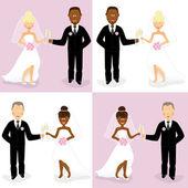 Bride and groom set 4 — Stock Vector