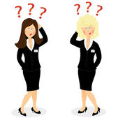 Businesswoman with question marks — Stock Vector