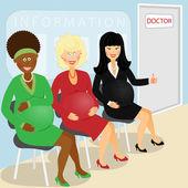 Pregnant visit doctor — Stock Vector