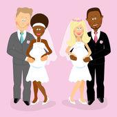 Pregnant wedding couples — Stock Vector