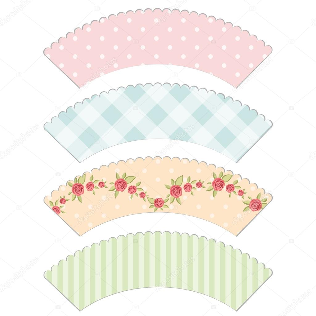 Shabby Chic Cupcake Liners Cupcake wrappers 3 - stock