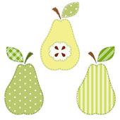 Pears fabric applique — Stock Vector