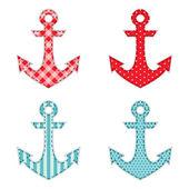 Anchors fabric applique — Stock Vector