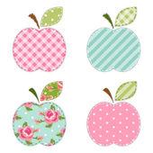Apples fabric retro applique — Stock Vector