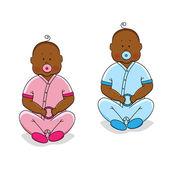 Two babies — Stock Vector