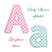 Fabric gingham applique letters — Stock Vector
