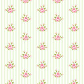 Shabby chic pattern with roses on striped background — Stock Vector