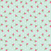 Shabby chic pattern with cute tiny rosebuds — Stock Vector