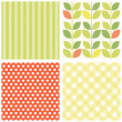 Set of four cute retro seamless backgrounds — Stock Vector #47452525
