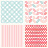 Set of four cute retro seamless backgrounds — Stock Vector