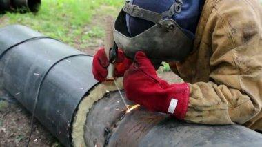Worker Welding — Stock Video