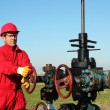Oil Worker at Drilling Rig - Stock Photo