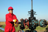 Oil Worker at Drilling Rig — Foto Stock