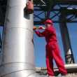 Oil Refinery Worker at Work — Stock Video