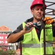Construction Worker in Action With Combination Pliers — Stock Video
