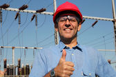 Successful Engineer in Red Helmet Showing Ok Sign. — Stock Photo