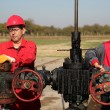 Stock Photo: Two Skilled Oil and Gas Engineers in Action at Oil Well.