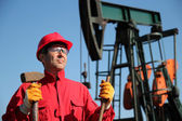 Oil Industry Worker Holding Sledgehammer Next to Pump Jack. — Stockfoto