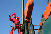 Oil Industry Worker Gesturing. — Stock Photo