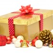 Stock Photo: Christmas gift box with red ribbon