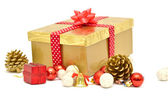 Christmas gift box with red ribbon — Stock Photo