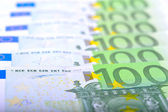 Close-up di banconote in euro 100 — Foto Stock