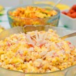 Stock Photo: Salad with crab sticks and corn