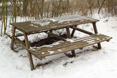 Table with benches — Stock Photo