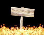 Holz signiert die Flamme — Stockfoto