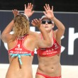 North American beach Volley players April Ross & Jennifer Kessy - Stock Photo