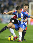 Marquez(L) of Espanyol fight with Gurpegi(R) — Foto Stock