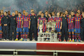 FC Barcelona players at the party with the 6 trophies — Stock Photo