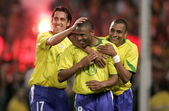 Brazilians Edu(L), Silva(C), Baptista(R) — Stock Photo
