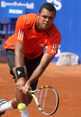 French Jo-Wilfried Tsonga in action — Stock Photo